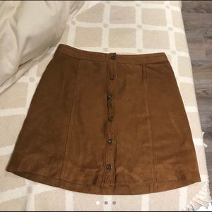 Hollister brown faux suede skirt
